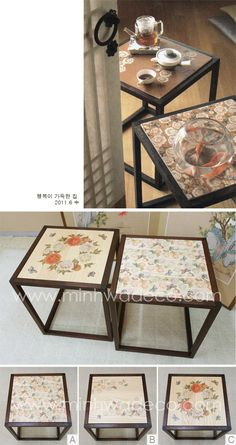 Traditional Furniture, Traditional Art, Korean Traditional, Korean Painting, Office Interiors, Wood Table, Diy And Crafts, Oriental, Decorative Boxes