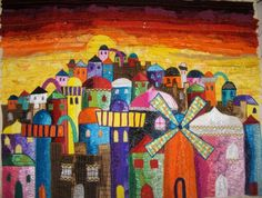 sunset over Jerusalem  Medium: Textiles - embroidery and applique of indian fabrics.  size: 75 x 55 cm- rivka bergson