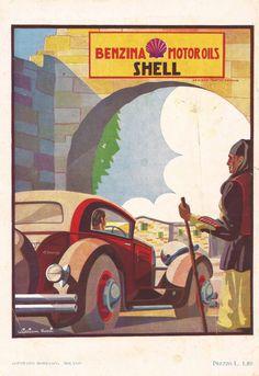 Pubblicità SHELL William Rossi Advert Werbung Publicité 1931 Italian Vintage OLD