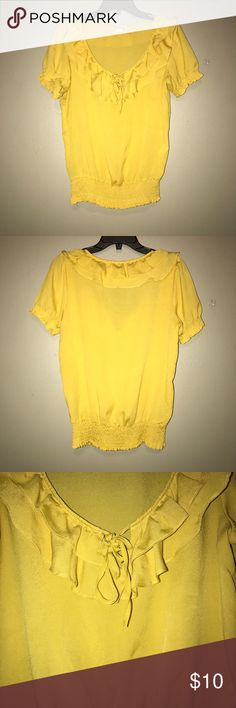 Yellow ruffle blouse ⭐️ Loose yellow blouse. Stretchy elastic waist and sleeves. Size medium, no damages Forever 21 Tops Blouses