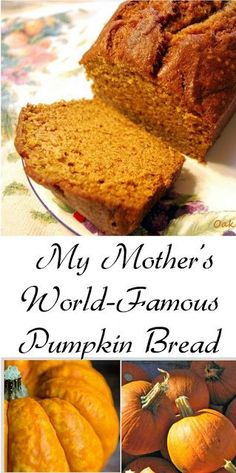 My Mother's Pumpkin Bread Recipe: Around the Harvest Table - Oak Hill Homestead. Make in a bigger pan and add the streusel topping from the other pumpkin bread recipe Bread Machine Recipes, Easy Bread Recipes, Cooking Recipes, Pumpkin Bread Recipes, Breakfast Bread Recipes, Pumpkin Guts Recipe, Pumpkin Bread Recipe For Bread Machine, Pumkin Cookies Recipes, Sweets