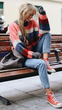winter casual outfit / stripped sweater jeans red converse