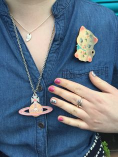 Denim dress by New Look, jewellery by Lucky Dip Club, Bloody Mary Metal and Vivienne Westwood