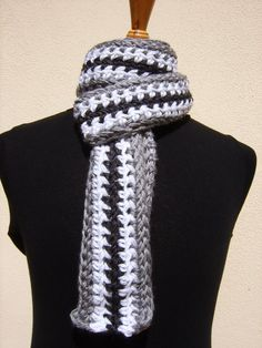 Crochet Scarf/Long Scarf/Striped Scarf/Gray by CabinByThePines