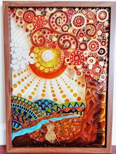 Tree of life 14x20 Glass painting Glass pannel Tree by CozyHome1