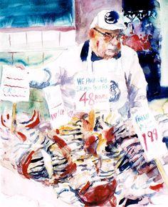Brian Baxter: Pikes Market Crab Seller, Seattle Seattle, People, Painting, Art, Art Background, Painting Art, Paintings, Kunst, People Illustration