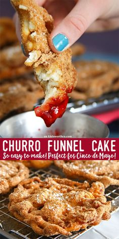 Easy Churro Funnel Cake is the perfect blend of carnival & theme park food & awesome Cinco de Mayo dessert recipes. You can't go wrong with cinnamon treats! via @KleinworthCo
