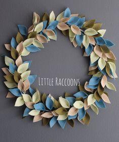 Felt leaf wreath home decor handmade new home housewarming Mother's Day gift pistachio,sea blue, moss and beige Felt Flower Wreaths, Felt Wreath, Diy Wreath, Felt Flowers, Pom Pom Crafts, Flower Crafts, Felt Crafts, Modern Wreath, Felt Leaves