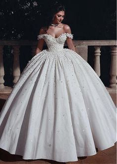 Marvelous Tulle & Satin Off-the-shoulder Neckline Ball Gown Wedding Dresses With Beadings & Handmade Flowers & Flowers NEW! Marvelous Tulle & Satin Off-the-shoulder Neckline Ball Gown Wedding Dresses With Beadings & Handmade Flowers & Flowers Ballroom Wedding Dresses, Western Wedding Dresses, Princess Wedding Dresses, Elegant Wedding Dress, Perfect Wedding Dress, White Wedding Dresses, Wedding Gowns, Elegant Dresses, Modest Wedding