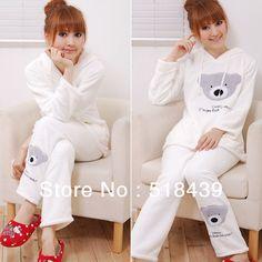Autumn/Winter Pajamas set For Women Panda Coral Flannel Animal Clothing Set
