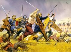 The Picts attacking a Roman line during the Roman army's invasion of Caledonia.