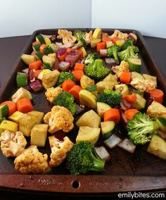 Balsamic roasted veggies - super easy side dish.  I used zucchini, yellow squash and carrots since that's what I had on hand, but the options really are endless