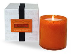 "LAFCO Kitchen (Cilantro Orange) Candle is a blend of cilantro, orange, and watercress; a lively fragrance that will compliment every aroma imaginable in the kitchen, from cookies to cassoulet.     90+ hour burn time, 16 oz. oversized, 4""x4"" colored hand-blown glass vessel.  clean-burning soy-based wax, 100% cotton wick."