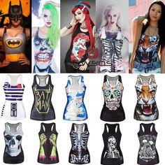 Women Graphic Print Tank Tops Blouse Gothic Singlet Punk Vest Sleeveless T Shirt #Unbranded #TuniquesCaftans #Casual