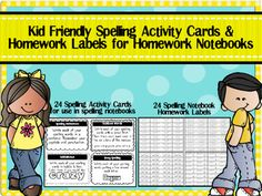 Kid Friendly Spelling Activity Cards & Homework Labels for Spelling Notebooks