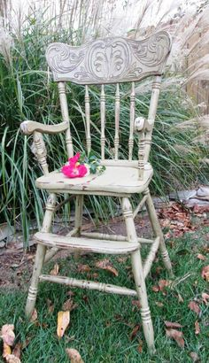Vintage painted and distressed high chair baby photo prop, cake smash High Hair, Wedding Rentals, Cake Smash, Photography Props, Rocking Chair, Baby Photos, Picture Ideas, Photo Props, First Birthdays