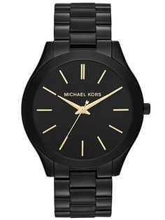 Michael Kors Slim Runway Black + Gold Watch