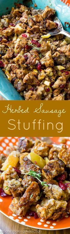 The BEST Thanksgiving dressing recipe! Complete with sausage, savory herbs, mushrooms, warm sweet apples, and dried cranberries!