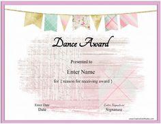 Free Dance Certificate Template - Customizable And Printable with regard to Dance Certificate Template - Best & Professional Templates Ideas Certificate Layout, Certificate Of Achievement Template, Award Certificates, Free Printable Certificate Templates, Graduation Templates, Award Template, Dance Awards, Dance Gifts, Free Preschool