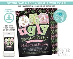 Ugly Sweater Christmas Birthday Invitation, EDITABLE, Christmas Party, Ugly Sweater Party Invitation, DIGITAL, Instant Download Ugly Sweater Party, Ugly Christmas Sweater, 8th Birthday, Christmas Birthday, Digital Invitations, Birthday Invitations, Being Ugly, Save Yourself, Your Design