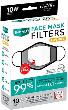 """Amazon.com: INHALO""""Peel & Stick"""" Face Mask Filters - Added Protection for Your Face Masks-Child Size-10 Filters: Beauty Mask For Kids, Face Masks, Filters, Size 10, Amazon, Children, Beauty, Facial Masks, Toddlers"""