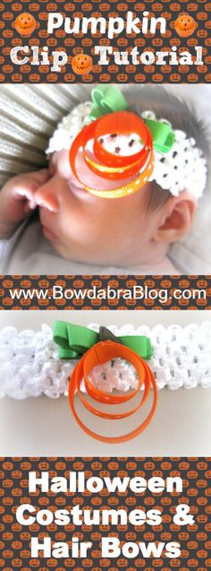 Halloween Costumes and Hair Bows Pumpkin Clip Tutorial How To Make Hair, How To Make Bows, Baby Girl Presents, Bow Making Tutorials, Making Hair Bows, Hairbows, Headbands, Diy And Crafts, Diy Ideas