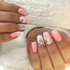 Nail art Christmas - the festive spirit on the nails. Over 70 creative ideas and tutorials - My Nails Great Nails, Perfect Nails, Gorgeous Nails, Cute Nails, 3d Nail Designs, Pretty Nail Designs, Bling Nails, 3d Nails, Orange Nails