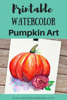 This free printable watercolor pumpkin art is available for download. Add a fun touch to your autumn decor with this free art print.