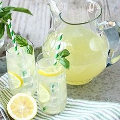 Basil lemonade is as simple as making a simple syrup that has fresh basil muddled and steeped in it, then making lemonade with fresh lemon juice. Cocktails, Non Alcoholic Drinks, Alcholic Drinks, Refreshing Drinks, Summer Drinks, Fun Drinks, Healthy Drinks, Baking Appliances, Orange Juice Cake
