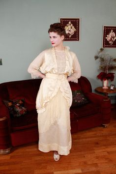Vintage Edwardian Wedding Gown  c. 1913 China Silk Gown by FabGabs, $1100.00