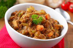 Pork, lentil and vegetable stew via MyFamily. Large Fries, Lentil Stew, Vegetable Stew, Food Names, Healthy Kids, Pork Recipes, Lentils, Main Dishes, Pork