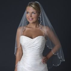 Ivory Beaded Scalloped Fingertip Length Wedding Veil on Tradesy Weddings (formerly Recycled Bride), the world's largest wedding marketplace. Price $109.99...Could You Get it For Less? Click Now to Find Out!