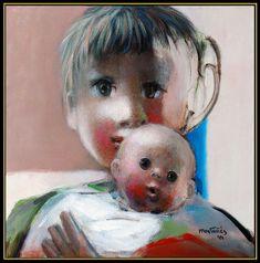 Jose Montanes Original Painting Oil on Canvas Signed Child Portrait Cubism Art Cubism Art, Canvas Signs, Famous Artists, Custom Framing, Oil On Canvas, Original Paintings, The Incredibles, The Originals, Portrait