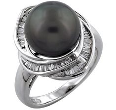 14K White Gold Tahitian Pearl & Diamond Ring