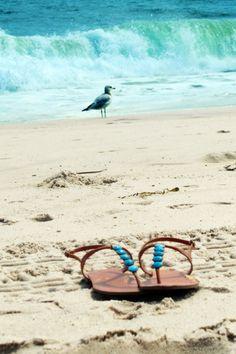 flip flops in the sand...