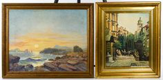 "Lot 306: Unknown Artist (19th century) Oil on Canvas; Undated, having a pencil inscription en verso of canvas ""Dr. Watson $30"" and depicting a marine landscape; together with an illegibly signed oil on canvas depicting a European streetscape"