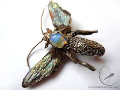 Tropical wasp brooch australian opal insect by rekamistworzone, $290.00