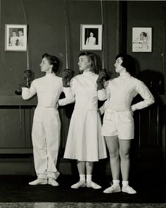 """Fencing for ladies (foil ONLY, in those days & for decades to come!) Women fencers, the Glass Ceiling was in fencing as well. Only foil, only 4 points to win - men had to go for 5. I wanted to learn saber, but my father/teacher said women didn't fence saber. Period. I was rather upset. I wanted more """"swash"""" to my """"buckle""""."""