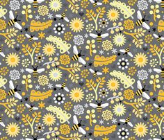Flowers Fabric - Bumbles & Blooms by designs_by_lisa_k - Flowers Fabric with Spoonflower - Printed on Kona Cotton Fabric by the Yard Cool Patterns, Print Patterns, Retro Pattern, Bee Happy, Kona Cotton, Surface Pattern Design, Custom Fabric, Spoonflower, Fabric Design