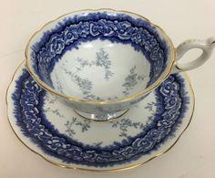 Coalport Bone China Blue and White Tea Cup And Saucer #Coalport