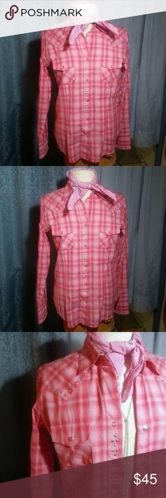 "Panhandle Slim pink plaid pearl snap shirt NWOT Ladies 2 pocket pink pearl snap button 100% Cotton pink and pink plaid shirt  Fitted to the female form, it has darts in front and back to make room for the bust and a nipped in waist. Looks great open over a tank or tee, and buttoned-up, to see the pretty pink pearl snap buttons  Size Small. Measures 20"" across at armpits & 15"" down to bottom. 17"" across at the waist. 19.5"" across at bottom, with scallop front and back center. In brand new…"