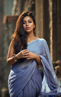 Powder blue saree - Indian woman