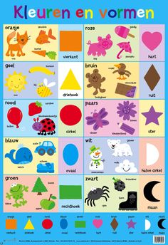 Wallchart - My First Colours and Shapes Book Activities, Toddler Activities, Toddler Chart, Toddler Speech, Learn Dutch, Learn Arabic Alphabet, Dutch Language, Preschool Colors, Numbers For Kids