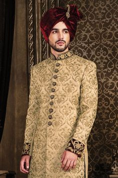 Wedding Sherwani, Jodhpuri Sherwani, Sherwani, Sherwani for Men, Western Sherwani. The attire gives a strong ethnic edge to men and has proved itself as one of the classic Indian attire not only in India but also globally. Sherwani For Men Wedding, Wedding Dresses Men Indian, Groom Wedding Dress, Blue Suit Wedding, Pakistani Wedding Dresses, Wedding Suits, Groom Dress, Wedding Lehnga, Blue Sherwani