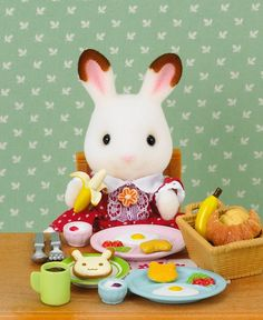Sylvanian Families Calico Critters Breakfast Set Pancake Maker With Bonus Bunny Sylvanian Families, Calico Critters Families, Pelo Anime, Breakfast Set, Barbie, Bunny Toys, Bunnies, Epoch, Cute Toys