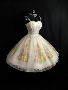 1950's Ruched White Floral Flocked Chiffon-Organza Party Dress.