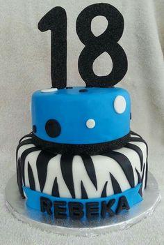 Blue and zebra print birthday cake by Amber's Cake Lair