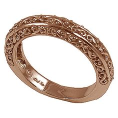 14k Rose Gold Antique Fancy Filigree Wedding Band Ring.  Where we came from. These three need to either be yellow gold, or rose. I'm not sure. whatever looks best with the gold-ish colored diamond.