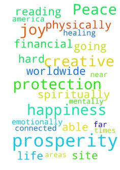 Peace prosperity joy happiness protection creative - Peace prosperity joy happiness protection creative healing spiritually mentally emotionally physically, financial prosperity in all areas of my life and to all those reading this and to all those on this site and connected to them near and far and all of them in America and worldwide going through hard times, please also could you pray for me to be able to train by myself with no interferance  Posted at: https://prayerrequest.com/t/RLN…