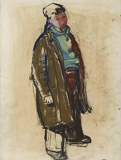 Joan Eardley ~ Boy in Overcoat Figure Painting, Figure Drawing, Life Drawing, Gouache, Abstract City, Glasgow School Of Art, Drawing Projects, Art Station, Pastel Drawing